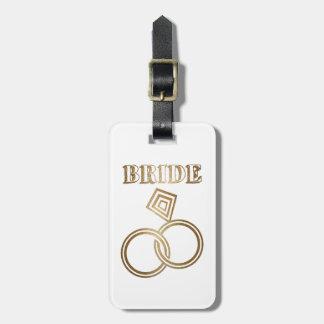 Gold Linked Rings Bride Wedding Luggage Tag