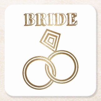 Gold Linked Rings Bride Wedding Square Paper Coaster