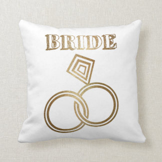 Gold Linked Rings Bride Wedding Throw Pillow
