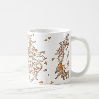 Gold Lion and Triangles Coffee Mug