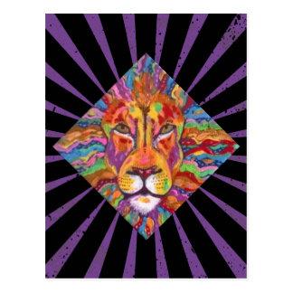 Gold Lion Expressive Painting Postcard