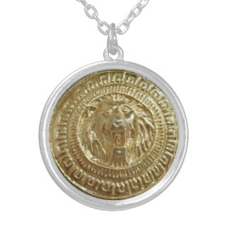 Gold Lion photo image Silver Plated Round Necklace