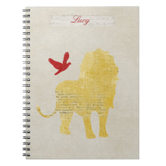 Gold Lion Silhouette Personalized Notebook