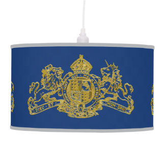 Gold Lion Unicorn British Coat of Arms Blue Pendant Lamp