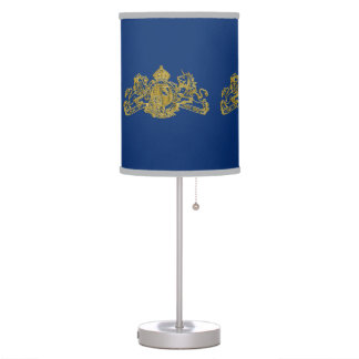 Gold Lion & Unicorn British Coat of Arms on Blue Table Lamp