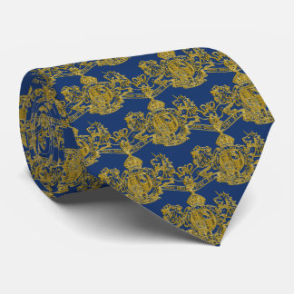 Gold Lion & Unicorn British Coat of Arms on Blue Tie