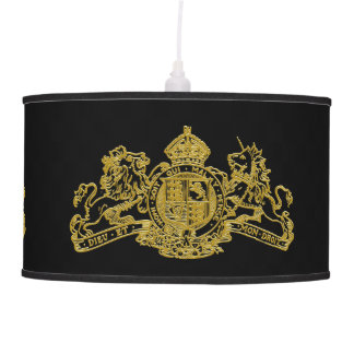 Gold Lion & Unicorn British Coat of Arms Pendant Lamp