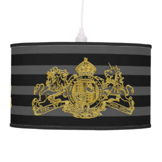 Gold Lion & Unicorn British Coat of Arms Striped Pendant Lamp