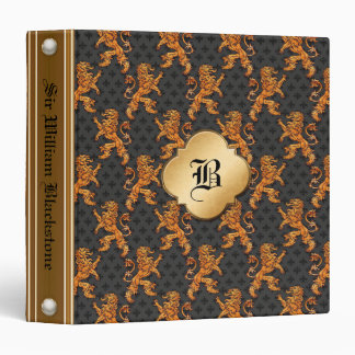 Gold Lions Fleurs on Black Monogram 3 Ring Binders
