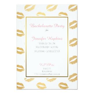 Gold Lips Bachelorette Party Invitations