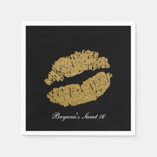 Gold Lips Faux Sparkle Kiss Beauty Makeup Party Disposable Napkin