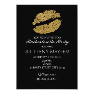 Gold Lips KISS Bachelorette Party Invitation