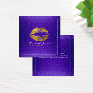 Gold Lips Makeup Artist Modern Violet Metal Square Business Card