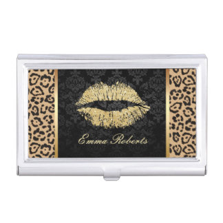 Gold Lips Modern Leopard Print Elegant Damask Business Card Holder