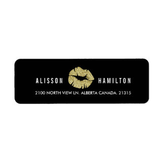 Gold Lips on Black | Personalized Return Address