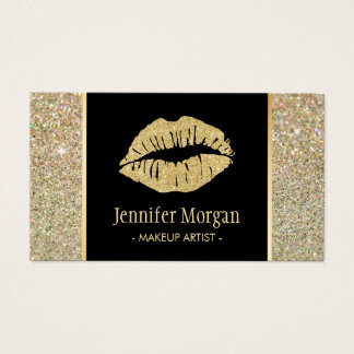 Gold Lips Trendy Glitter Sparkles Makeup Artist Business Card