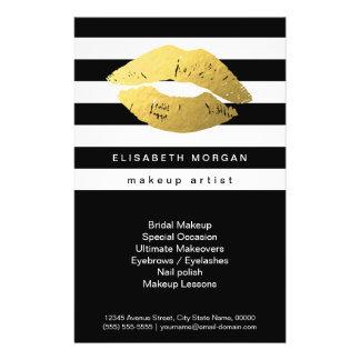 Gold Lips with Black White Stripes - Makeup Artist Flyer Design