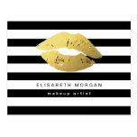 Gold Lips with Black White Stripes - Makeup Artist Postcard
