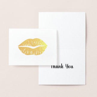 Gold Lipstick Thank You Foil Card