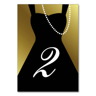Gold & Little Black Dress Tuxedo Table Card Number