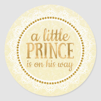 Gold Little Prince Baby Shower Sticker