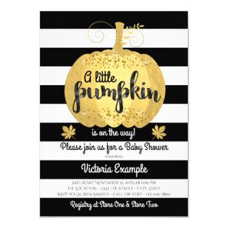 Gold Little Pumpkin Baby Shower Invitations