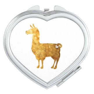 Gold Llama Compact Mirror