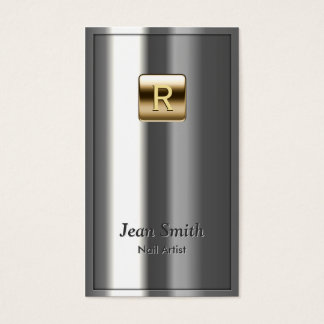Gold Logo Metallic Nail Art Business Card