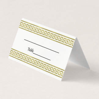 Gold Look Greek Key Meander Border #1 Place Card