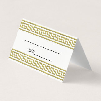 Gold Look Greek Key Meander Border #1A Place Card
