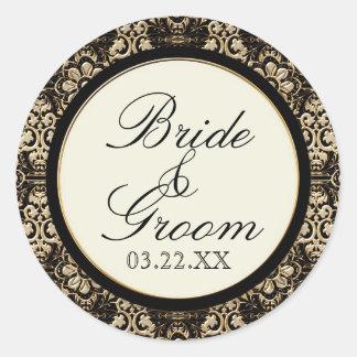 Gold Look, Lace Baroque Art Nouveau Deco 20s Style Classic Round Sticker