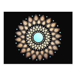 Gold Lotus Floral Mandala Postcard