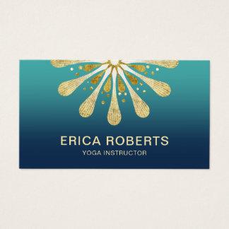 Gold Lotus Floral Yoga Instructor Elegant Business Card