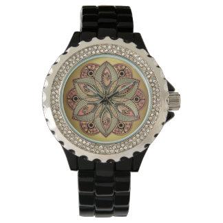 Gold Lotus Flower Mystical Mandala Wrist Watches