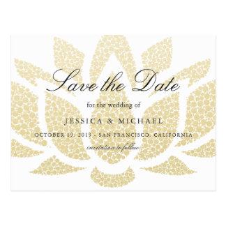 Gold Lotus Flower Wedding Save the Date Postcard