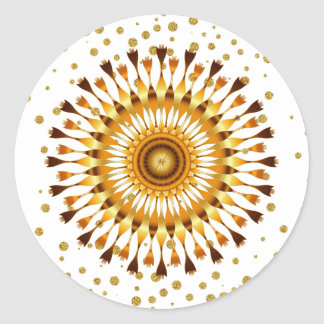 Gold Lotus Flower with golden confetti on white Classic Round Sticker