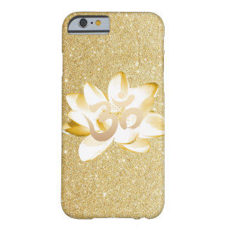 Gold Lotus & Yoga Om Symbol Gold Glitter Barely There iPhone 6 Case