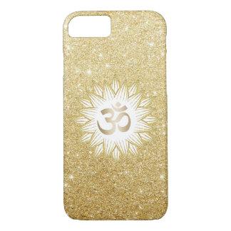 Gold Lotus & Yoga Om Symbol Gold Glitter iPhone 8/7 Case