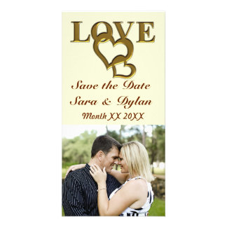 Gold Love and Hearts Save the Date Photocard Personalized Photo Card