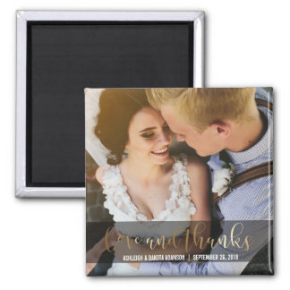Gold Love And Thanks Script | Newlyweds Photo Square Magnet