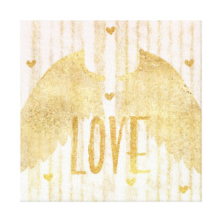 Gold Love Angel Wings Canvas Print