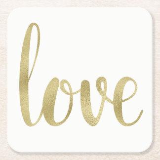 Gold love coasters, disposable, square square paper coaster