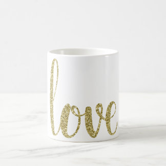 Gold love coffee mug, glitter coffee mug