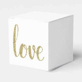 Gold love favor boxes, glitter favor box