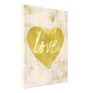Gold Love Heart Canvas Print