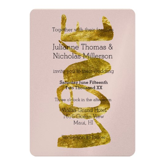 Gold Love is Patient Wedding Card