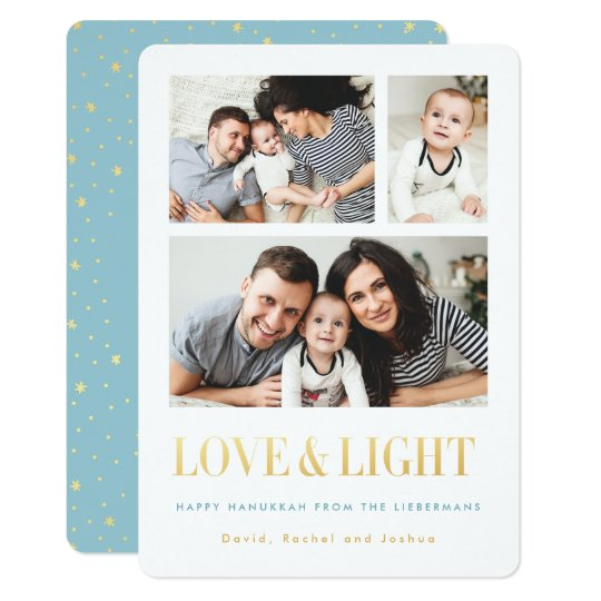 Gold LOVE & LIGHT Simple Photo Hanukkah Cards