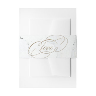 Gold Love Marble Wedding Invitation Belly Band