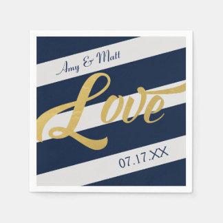 Gold Love | Navy Stripe Personalized Paper Napkin