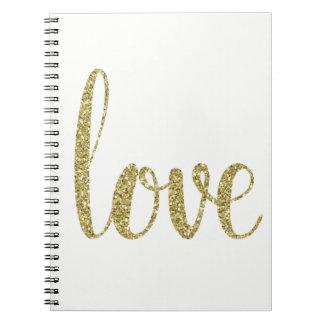 Gold love notebook, glitter note book